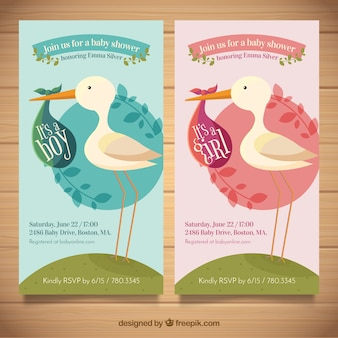 Two baby shower templates with stork