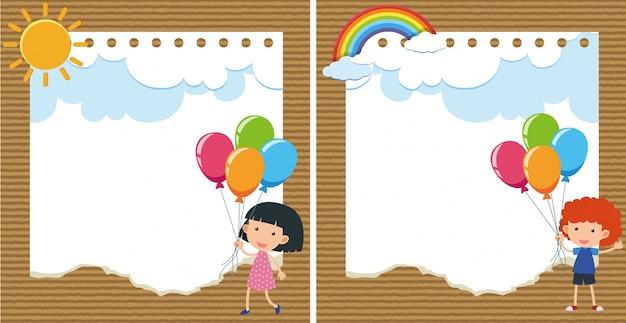 子供と風船の2つの背景