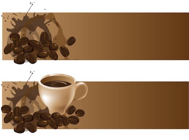 Два фона с кофейными зернами и чашкой кофе