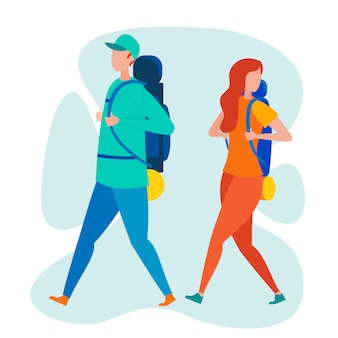 Two backpacker travelers flat vector characters