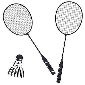 두 배드민턴 라켓과 셔틀콕 검은 그림 흰색 배경에 고립