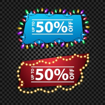 Two banner templates with colorful garlands