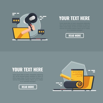 Two banners of business marketing technology, website optimization.