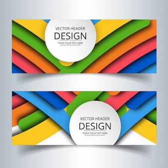 Two banners with colorful round shapes
