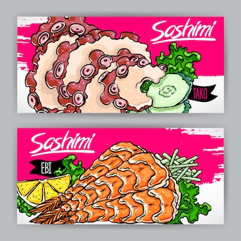 Два баннера с разными видами сашими. креветки и осьминоги. рисованная иллюстрация