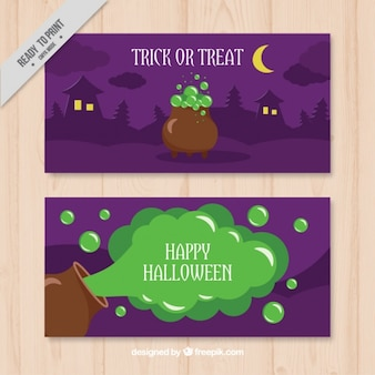 Two banners with a poisonous potion for halloween