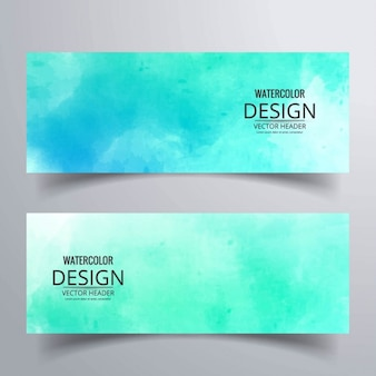 Two banners with turquoise watercolor