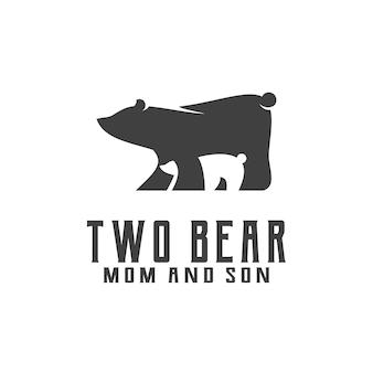 Two bear silhouette vintage retro stamp logo design