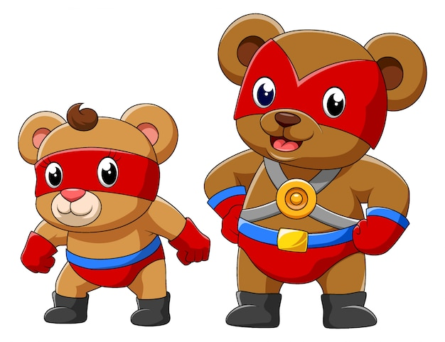 Two bear in a superhero costume of illustration