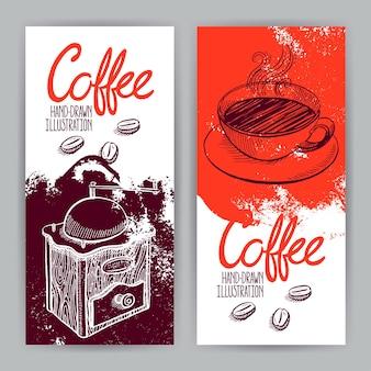 グラインダーとコーヒーのカップと2つの美しいバナー。手描きイラスト