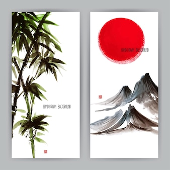 Two beautiful banners with japanese natural motifs. sumi-e. hand-drawn illustration