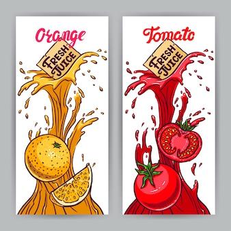 2つの美しい垂直バナー。フレッシュジュース。トマトとオレンジ。手描きイラスト