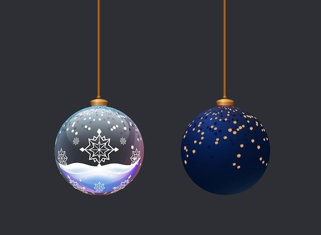 2つの美しいマットとガラスのボール新年のお祝いのクリスマスツリーの装飾のためのおもちゃ