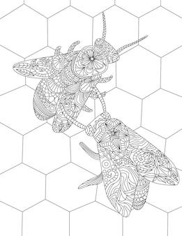 蜂の巣の中に2匹の蜂が蜂蜜の無色の線画を集めて巣箱の中にマルハナバチを集めています