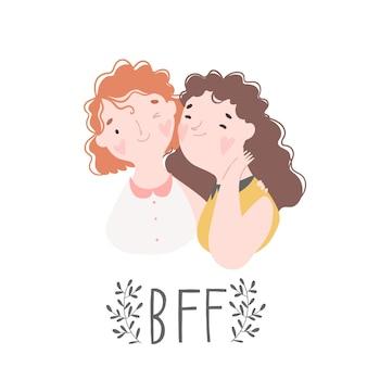 Две лучшие подруги девушки смеются и обнимаются векторная иллюстрация о дружбе, изолированные на белом