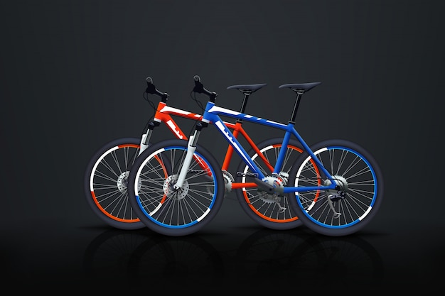 Two bicycles on dark