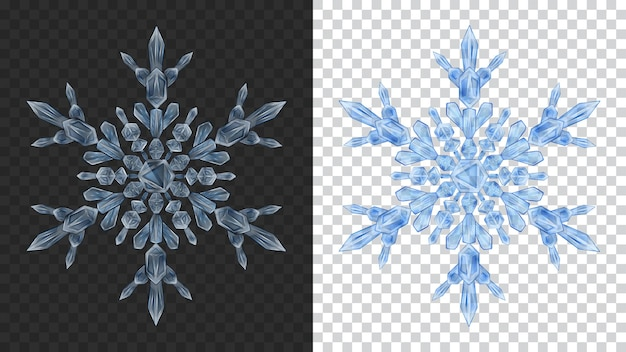 Two big complex transparent christmas snowflakes in blue colors for use on dark and light background. transparency only in vector format