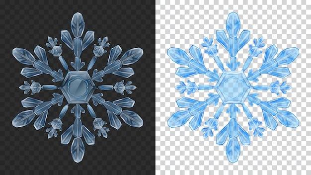 暗い背景と明るい背景で使用するための青い色の2つの大きな複雑な透明なクリスマスの雪片。ベクトル形式のみの透明度