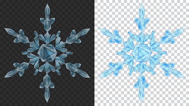 Two big complex transparent christmas snowflakes in light blue colors for use on dark and light background