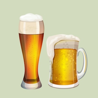 Two big glasses with frothy beer and white foam