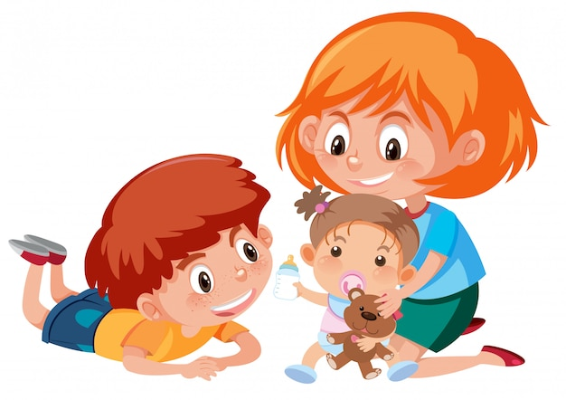 Two big kids taking care of baby on white background
