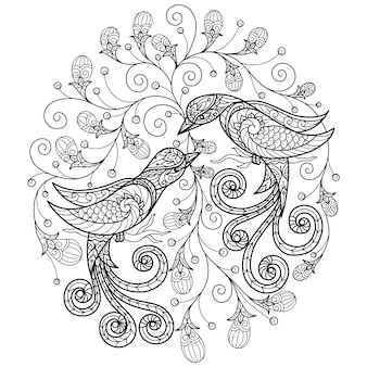Two birds. hand drawn illustration for adult coloring book