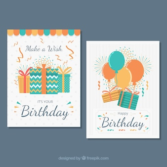 Two birthday cards in flat design