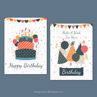 Две поздравительные открытки в плоском дизайне