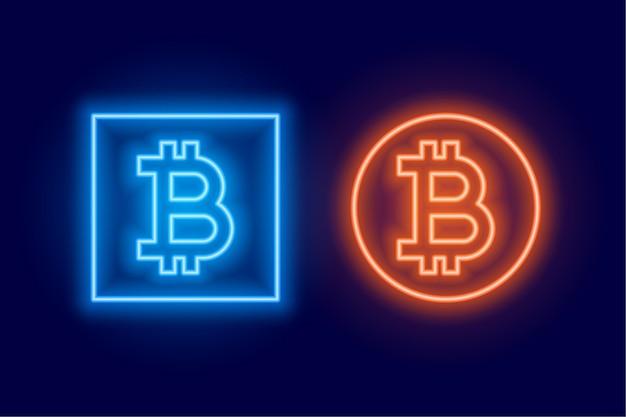 Два символа логотипа bitcoin, выполненные в неоновом стиле