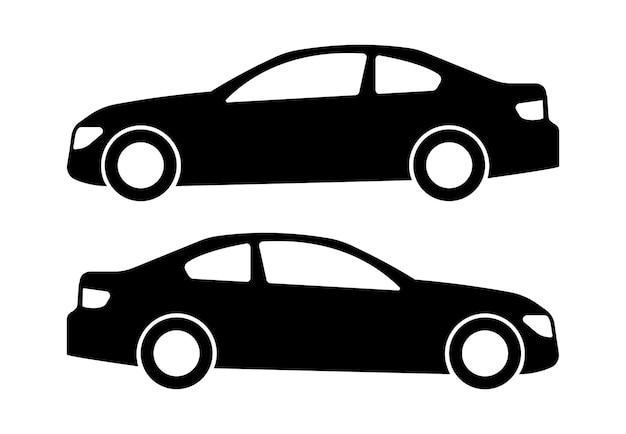 흰색 바탕에 두 개의 검은 자동차 실루엣입니다. 벡터 일러스트 레이 션.