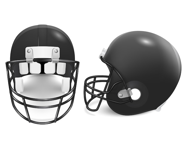 Two black football helmets - front and side view.
