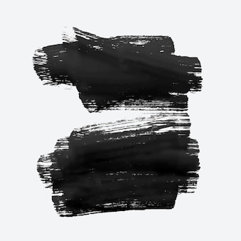 Two black grunge watercolor brush stroke
