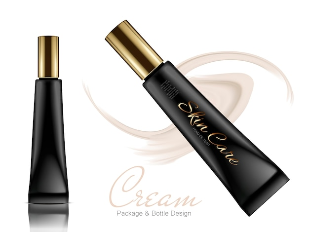 Two black long plastic tubes with golden caps and beige cream elements