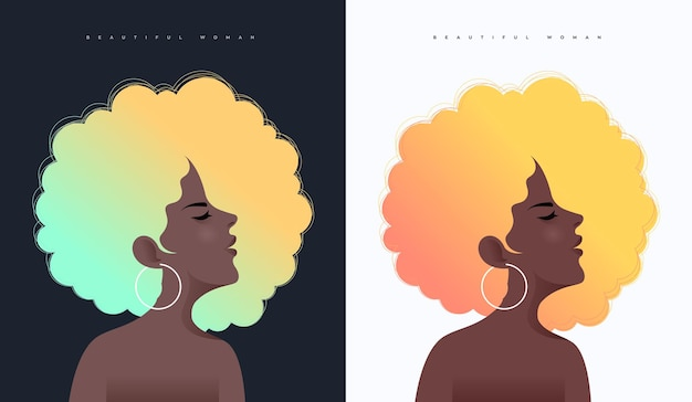 Two black woman side face vector illustration with fluorescent hair