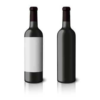Two blank black realistic bottles for red wine isolated on white background.