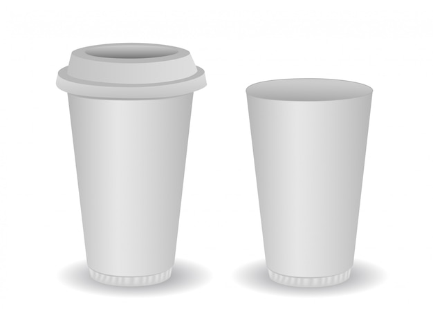 Two blank paper coffee cup