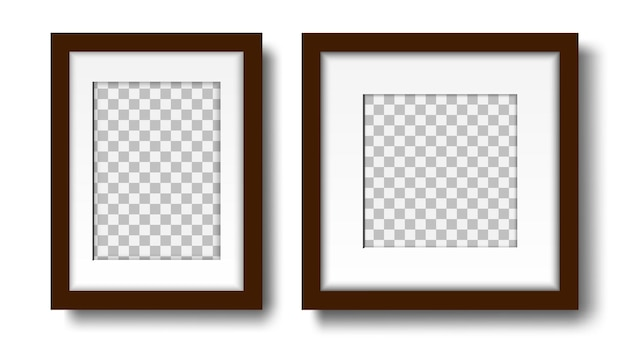 Two blank photo frames set of empty frames with mat for interior design mock up