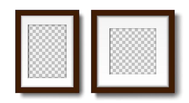 インテリアデザインのモックアップのためのマットと空のフレームの2つの空白のフォトフレームセット
