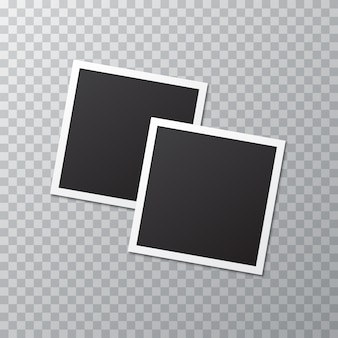Two blank realistic photo frame with shadow on a transparent