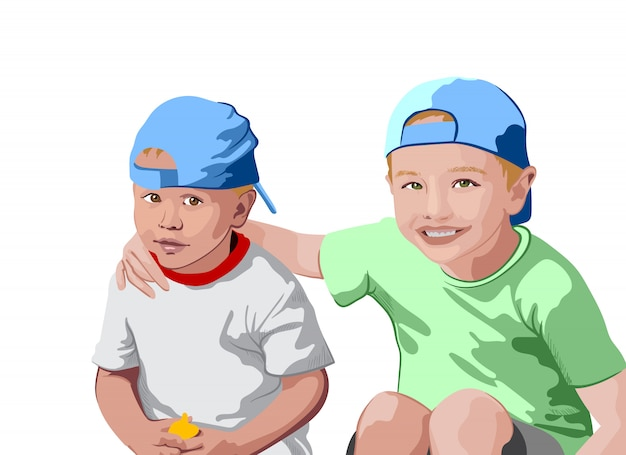 Two blonde boys in blue caps and t-shirts smiling. holding each other