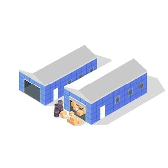 검은 드럼, 골판지 상자 또는 나무 상자가있는 창고의 회색 지붕이있는 두 개의 파란색 건물. 상품, 상품 보관, 창고. 흰색 바탕에 아이소 메트릭 그림입니다.