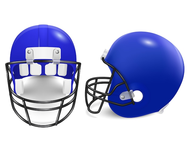 Two blue football helmets - front and side view.