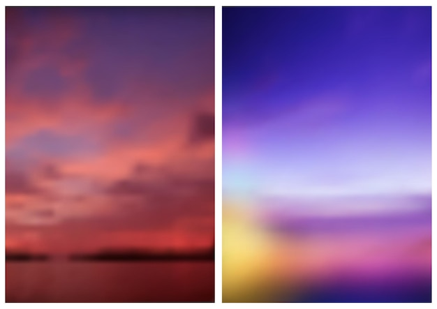 Two blurred skies backgrounds