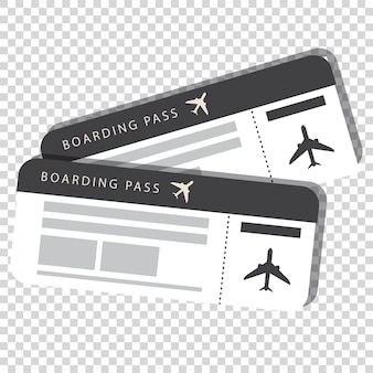 Two boarding pass isolated on transparent