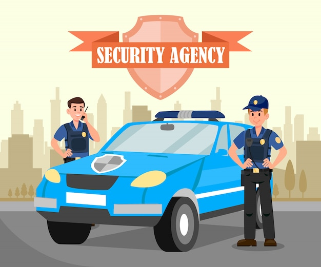 Two bodyguards and car flat vector illustration