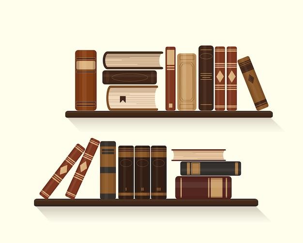 古いまたは歴史的な茶色の本が置かれた2つの本棚。図。