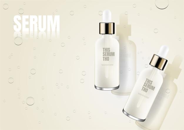 Two bottles of serum on water drop floor