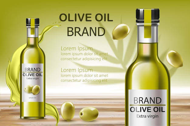 Two bottles with extra virgin oil. surrounded by flowing liquid and olives. place for text. realistic