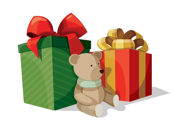Two boxes with presents in wrapping paper with ribbons and bows on top and a teddy bear nearby. isolated vector illustration