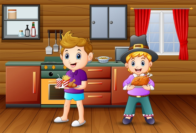 Two boy bringing a food in the kitchen